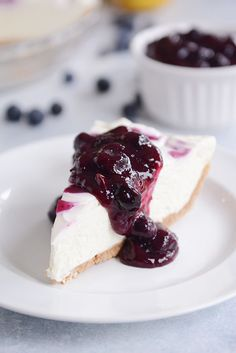 No-Bake Lemon Cheesecake with Blueberry Topping | Mel's Kitchen Cafe