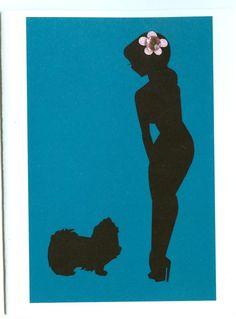Pekingese Pin Up Silhouette Blank Note Card by dangersjones