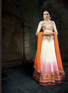 Women's Net Fabric & Cosmic Latte Color Pretty A Line Lehenga Style With Resham Work Dupatta - KWVW075301A5K | Indian Trendz