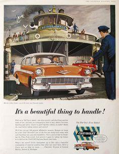 1956 Chevrolet Bel Air Sedan Advertisement - Bridgewater Car Ferry - Melbourne Brindle Art - Vintage