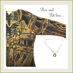 🆕💫Golden Top💫 💫Excellent design,comfortable fit. Rhinestones around the neckline....It's beautiful golden prints & design all over!!💫 Live and let live Tops Tees - Long Sleeve