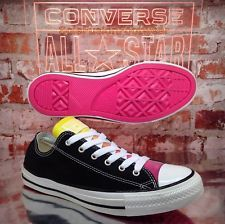 Converse Womens All Star Trainers Black/Pink sz 6 Low Top Shiny Shoes US 8 EU 39