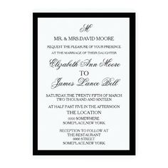Simple Black and White Wedding Invitation