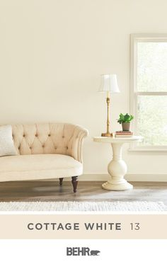 Bright and clean, with a traditional interior design style, this living room serves up plenty of neutral color inspiration for your home. And it all starts with a new coat of Behr Paint in Cottage White. Click below for full color details. Bedroom Wall Colors, Paint Colors For Living Room, Paint Colors For Home, Room Paint, Home Design, Decor Interior Design, Interior Design Living Room, Living Room Designs, Home Furniture