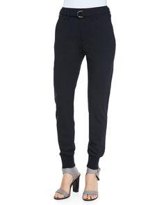 Vince Belted Wool Jogger Pants, Men's, Size: 4