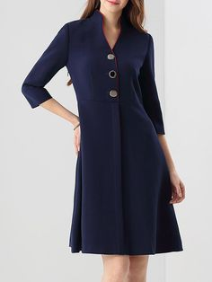 Dark Blue Buttoned  Stand Collar 3/4 Sleeve Midi Dress