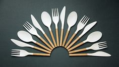 after noticing a lack of considered take-away cutlery, randi formed the set, which combines a plastic, recyclable head piece and a re-usable wooden handle.