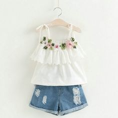 Cheap girls clothing sets, Buy Quality clothing sets directly from China children clothes Suppliers: Sodawn Fashion Girls Clothing Set 2018 Summer Baby Girls Clothes White Jacket Flower Decoration+Denim Shorts Children Clothes Baby Outfits, Little Girl Outfits, Kids Outfits, Summer Outfits, Batman Outfits, Formal Outfits, Rock Outfits, Emo Outfits, Baby Girl Fashion