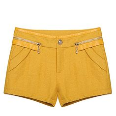 Charming Zipper Decorated Pockets Wool Women Leisure Shorts on buytrends.com