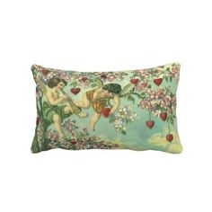 victorian accent pillows | Vintage Victorian Valentines Day Cupids Heart Tree Pillow