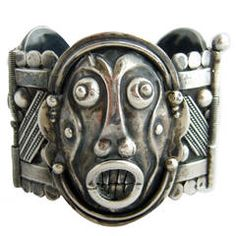 French Modernist Silver Mask Bracelet