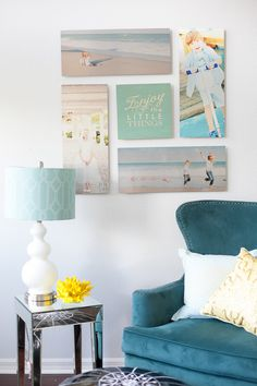 This living room wall makeover was created using the Shutterfly Design-A-Wall tool. We love the panoramic spiral layout that was chosen for this look. Display your gorgeous photos with this simple, helping hand and you can redecorate in no time. Follow Paula on Pinterest at http://www.pinterest.com/frogprincepaper/.