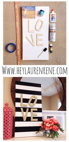 "DIY Glitter LOVE Canvas- great for Valentine's Day, anniversaries or year round! I think I'd rather have the ""O"" straight, lol! Glitter Bedroom, Glitter Paint For Walls, Teen Wall Art, Diy Wall Art, Bedroom Crafts, Diy Bedroom Decor, Bedroom Ideas, Teenage Girl Crafts, Teenage Room"