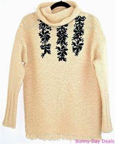 Free People Sweater Fringe Beige Long Sleeve Pullover Solid Black Floral XS S M  #FreePeople #TurtleneckMock