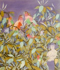 Ferdinand Finne – Papegøyer går til ro Tahiti, 1982 Edvard Munch, Ferdinand, Tahiti, Bird Art, Norway, Artsy, Birds, Colours, Painting