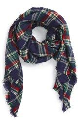 Sole Society Plaid Blanket Scarf - I would love to have a scarf like this. The color scheme on this with the navy and green go great with so many things in my closet.