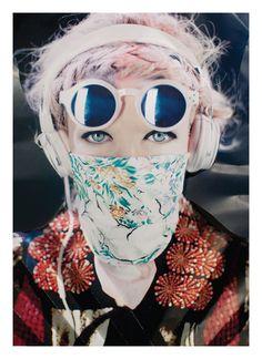 print, pastel, sunglasses, headphones
