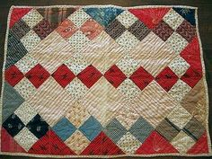 Antique Handmade One of A Kind Doll Quilt.