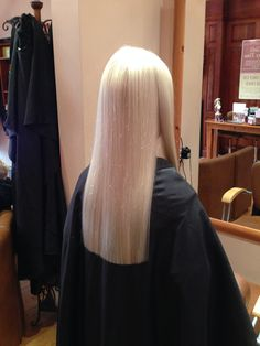 Long hair with one length cut adds thickness to the style, and some shape around the front creates softness. Ghd irons were also used to smooth the hair and ...