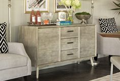 Retro elements spell out timeless style on the Allen buffet, which embodies classy modern design and offers abundant storage.