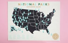 National Parks Checklist Map Print  18x24 Screenprint by ElloThere, $49.00