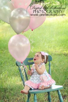 First Birthday Photo Session, Balloons, Pink and Grey, Sweet Baby Girl