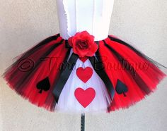 This listing is for a custom, handmade tutu made for pre-teens, teenagers and adults. This tutu is created in a similar style as my original Queen of Hearts design, in the colors of Alice, for a unique Alice in Wonderland costume! You may choose any length up to 12 for your custom tutu.