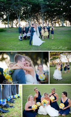 dark blue (charcoal?) suits with navy bridesmaid dresses