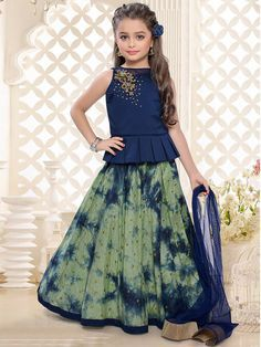 Buy Navy Olive Printed Dressy Lehenga Choli online in India at best price.eight 1 Kg Dispatch Date Apr, 2017 Occasion Festival Work Zari Neck Boat Neck Sleeve Sleeveless Lehenga Choli Designs, Kids Lehenga Choli, Chaniya Choli For Kids, Lehenga Designs Latest, Frock Design, Dresses Kids Girl, Kids Outfits, Frocks For Girls, Party Kleidung