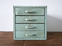 rare mint green industrial metal box with drawers // by Reclaimbk, $55.00