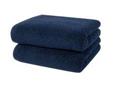 2 cozy navy bath towels, 1 hand towel and 2 wash cloths