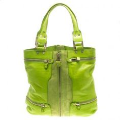 Jimmy Choo Neon Green Leather and Suede Mona Tote