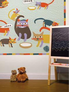 Miau blue / non-woven mural / lavmi