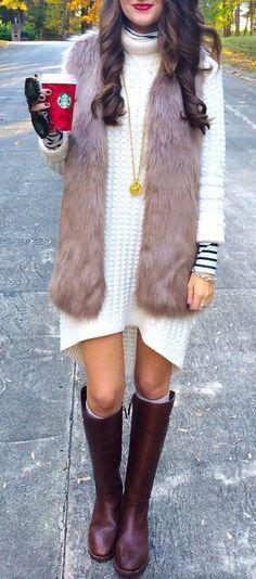 Fur vest, dress, but different boots I'm not a big fan of those ones