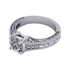 1.58 CT Cushion Cut Filigree Engagement Ring Available In 14K, 18K and Platinum. Agape Diamonds. Lab created diamonds. Man made diamonds. Wedding. Engagement ring. Wedding ring. Bridal. Gold. Platinum. Diamond. Simulated diamond.