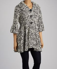 Look at this #zulilyfind! Black & White Filigree Flare Button-Up Jacket - Plus by Come N See #zulilyfinds