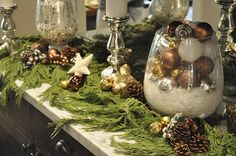 brown christmas decor | brown, white, and metallic natural glam decor ... | Christmas Decora ...