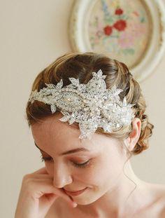 Lace wedding headband bridal headband wedding by woomeepyo on Etsy, $45.00