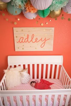 Name Sign, Nursery Decor, Crib Sign, Baby Name Sign, Nursery Name Sign, Gold Dots, Gold nursery, mint and coral by tolittlearrows on Etsy https://www.etsy.com/listing/207628509/name-sign-nursery-decor-crib-sign-baby
