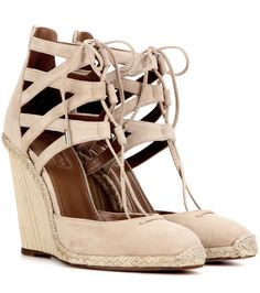 Aquazzura - Belgravia 110 suede wedge sandals - Aquazzura lifts its signature 'Belgravia' silhouette with a 110mm wedge heel for irresistibly feminine results. The soft nude suede pair features a lace-up front and espadrille-style jute detailing. Team yours with a skirt to show them off. seen @ www.mytheresa.com