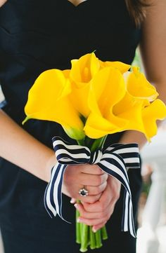 Bouquet Inspiration: yellow wedding bouquet with nautical striped ribbon embellishment #yellow #lillies