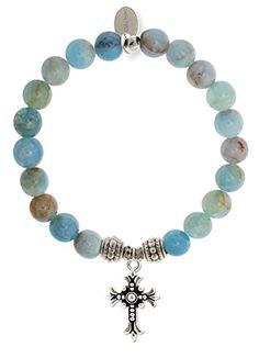EvaDane Natural Semi Precious Aquamarine Beryl Gemstone Rope Bead Cross Charm Stretch Bracelet sale  Aquamarine sale