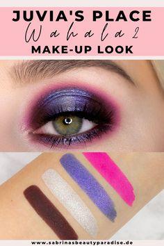 Dramatischer Augen Makeup Look mit der Juvia's Place Wahala 2 Lidschattenpalette.   AMU in Lila und Pink mit Schimmer – perfekt für grüne Augen.   Vegane Lidschatten von Juvia's Place im Test.   Entdecke zwei weitere Augen Makeup Looks!   #eyemakeup #makeuplook #augenmakeup