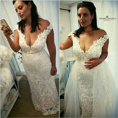 Curvy weddin gown perfection with #studiolevana. Plus size mermaid wedding dress with off-shoulder sleeves and detachable skirt.
