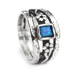 Sterling silver jewellery, Oxidised Aviv Sterling Silver Ring With Square Opal Stone