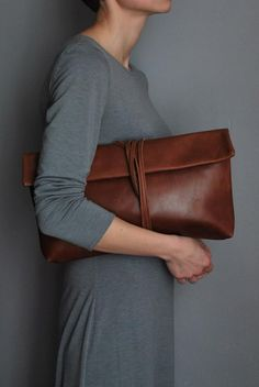 Gray dress + brown leather purse. clothing women apparel @roressclothes closet ideas style ladies outfit fashion