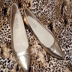 Michael Kors  flats Michael  Kors  gold snake-skin look flats.  Good condition slight scuff on point toe Michael Kors Shoes Flats & Loafers