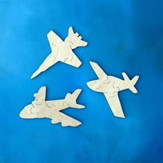 Childrens Wood Puzzles - Set of 3 Childrens Wooden Airplane Toy Puzzles - Fun for Toddlers and Children