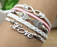 Antique silver bracelet, unique owl bracelet, infinity bracelet, eove bracelet, girlfriend and BFF. $4.99, via Etsy.