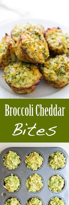 Broccoli Cheddar Bites ~ Cheesy baked broccoli snacks, great for a brunch Veg Dishes, Side Dishes, Broccoli Cheddar Bites, Broccoli Lemon, Vegan Recipes, Cooking Recipes, Vegetarian Food, Blood Sugar, Keto Snacks